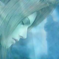 A tear rolls down Lucrecia's cheek as Vincent leaves the cave in <i>Dirge of Cerberus -Final Fantasy VII-</i>.