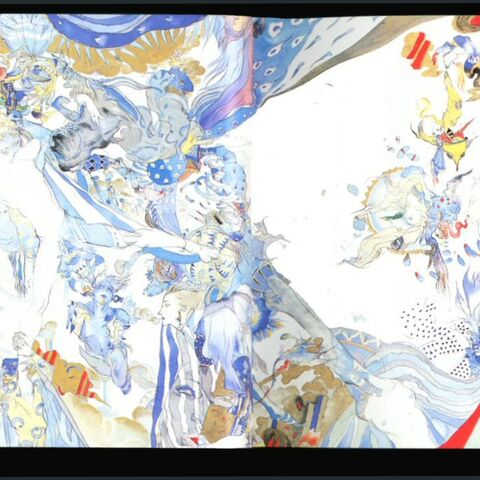 Massive scrolling Yoshitaka Amano piece that folds out from <i>Dawn</i> across ten pages.