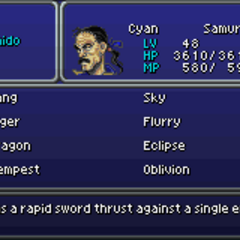Menu in <i>Final Fantasy VI</i> (GBA).