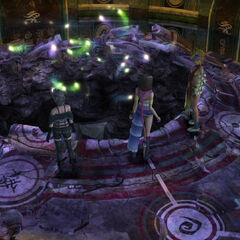 A hole in Kilika Temple's Chamber of the Fayth in <i>Final Fantasy X-2</i>.