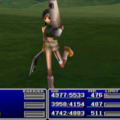 Yuffie using an item on an ally in <i><a href=