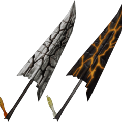 Garland's sword in normal and EX Mode forms in his second alt outfit.
