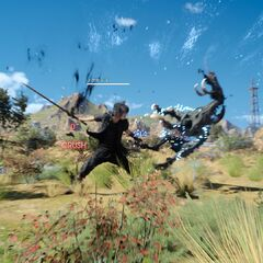 Noctis fighting Sabertusk.
