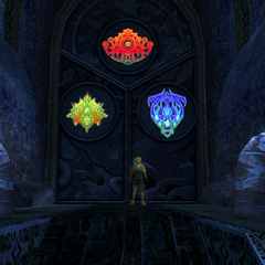 Magus Sisters' glyphs on a door.