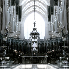 Concept artwork of the meeting room in the Citadel for <i>Final Fantasy Versus XIII</i>.
