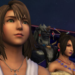 Yuna, Lulu, and Kimahri before the final battle against Braska's Final Aeon.
