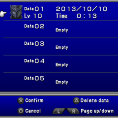 Save menu in the PSP version.