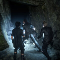 Noctis and the party entering Fociaugh Cavern.