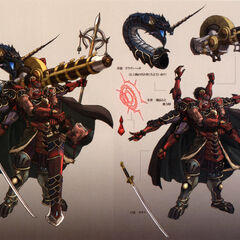 Gilgamesh and his various weapons.