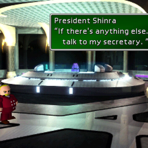 President Shinra in his room in the headquarters.