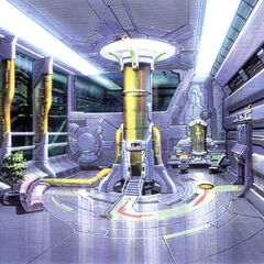 Colored concept art of the pod entry room.