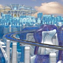 The futuristic city of Esthar.