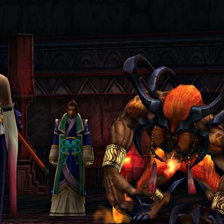 Isaaru with his aeon in <i>Final Fantasy X</i>.