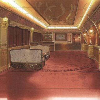 Concept art of the president's cabin in the train.