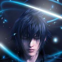 A promotional poster of Noctis featuring one of his quotations.