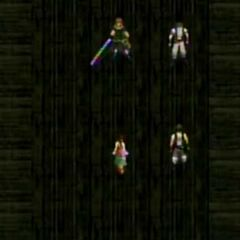 AVALANCHE commanders talk to Aerith in <i>Before Crisis -Final Fantasy VII-</i>.