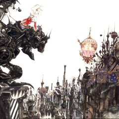 Yoshitaka Amano artwork of Terra in Magitek Armor for the box art of <i>Final Fantasy VI</i>.