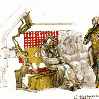 Concept art of the Purgees on the train.