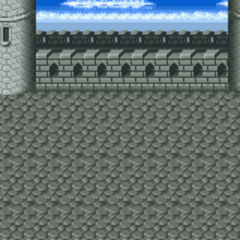 Battle background (Dimension Castle roof) (SNES).