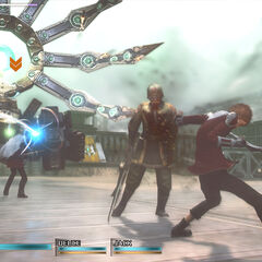 Eight in battle in <i>Type-0 HD</i>.