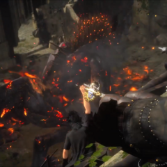 Noctis and his friends attacking Deadeye in his lair.