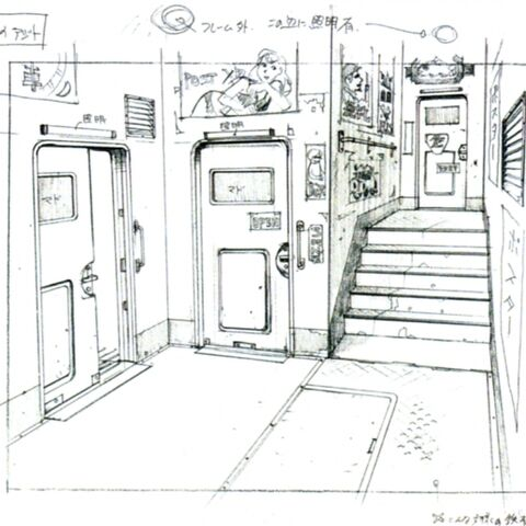 Concept art of the Forest Owls' train interior.