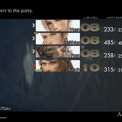 Selected party shown in the menu in <i>Final Fantasy XII</i>, with one guest character.