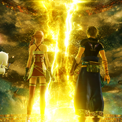 Serah and Noel entering the Temporal Rift.