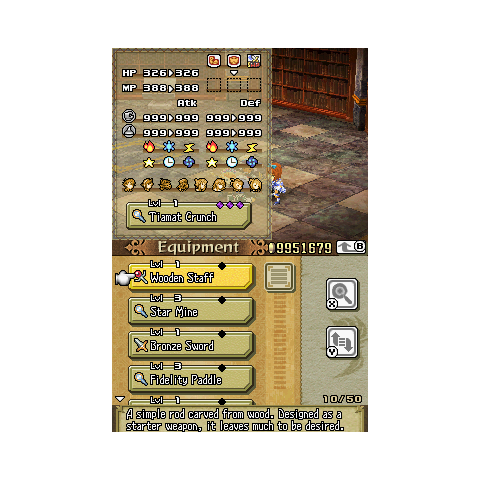 While selecting a piece of equipment, all stats are shown.