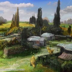 Concept art of a village.