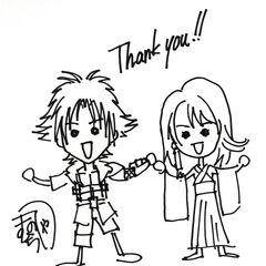 Sketch of Tidus and Yuna by Tetsuya Nomura.