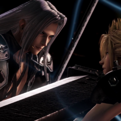 Promotional art of Sephiroth and Cloud for the arcade version of <i>Dissidia</i>.