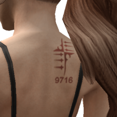 Close-up of Emina's tattoo.