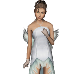 Yuna in a wedding dress.