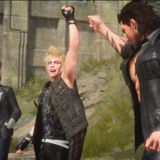 Gladiolus, Prompto, and Ignis celebrating Deadeye's defeat.