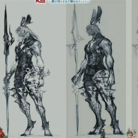 Concept art showing female and male viera.