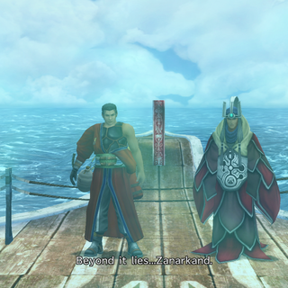 Auron and Braska on S.S. Liki, recorded by Jecht.