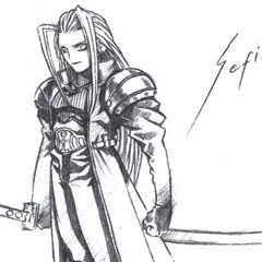 Early concept art of Sephiroth by Tetsuya Nomura.