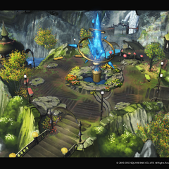 2.0 Artwork of the redesigned Aetheryte Crystal in a town square.