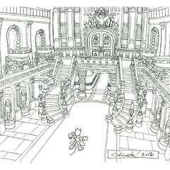 Throne Room hallway concept art.