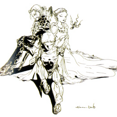 Bartz, Faris and Lenna concept art by Yoshitaka Amano.