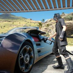 Noctis fueling the Regalia.