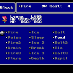 The Black Magic menu in the SNES version.