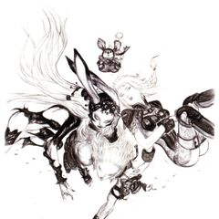 Promotional artwork for Basch, Fran, Penelo, and a moogle by Yoshitaka Amano.