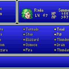Magic menu in the GBA version.