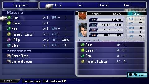 Image result for final fantasy 7 materia screen