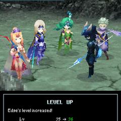 Level up pose in <i>Final Fantasy IV</i> (DS).
