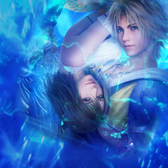 Promotional artwork of Yuna and Tidus for <i>Final Fantasy X HD Remaster</i>.
