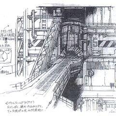 Concept art of reactor entrance for <i>Final Fantasy VII</i>.