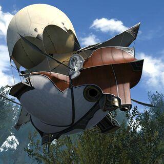 An airship leaving Gridania.
